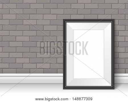 Frame Template Near Brick Wall On The Floor Vector Grey Black
