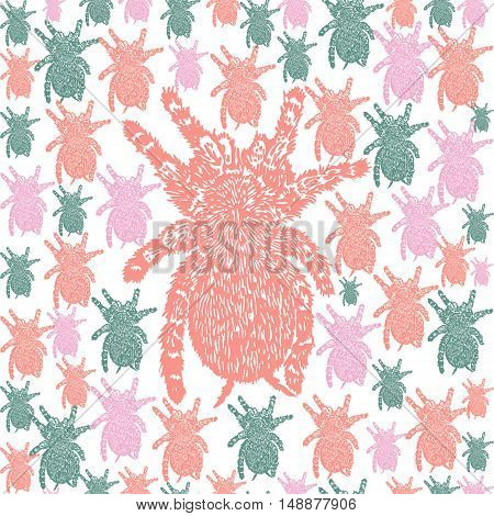 Linocut Tarantula background. Vector Illustrated Tarantula spiders seamless pattern.