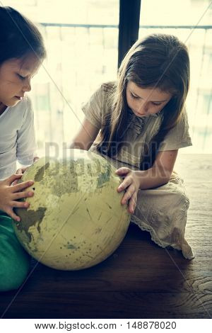 Girls Learning Geography Lesson Concept