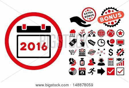 2016 Calendar pictograph with bonus clip art. Glyph illustration style is flat iconic bicolor symbols, intensive red and black colors, white background.