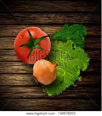 fresh green lettuce tomato and onion wooden background