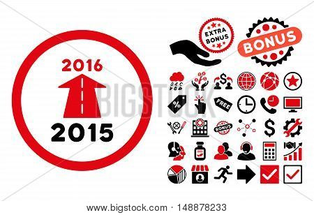 2016 Future Road icon with bonus clip art. Glyph illustration style is flat iconic bicolor symbols, intensive red and black colors, white background.
