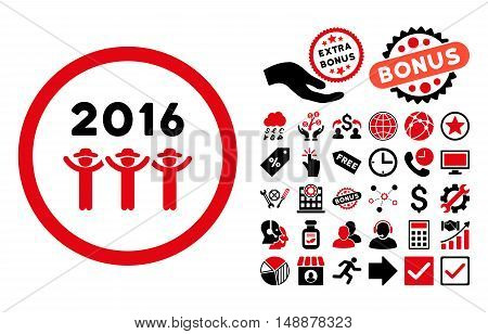 2016 Guys Dance pictograph with bonus pictogram. Glyph illustration style is flat iconic bicolor symbols, intensive red and black colors, white background.