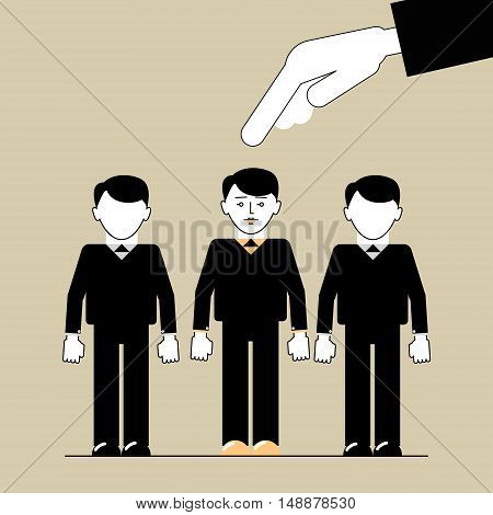 People Search . Hand picks a man employee. Vector illustration of a flat line