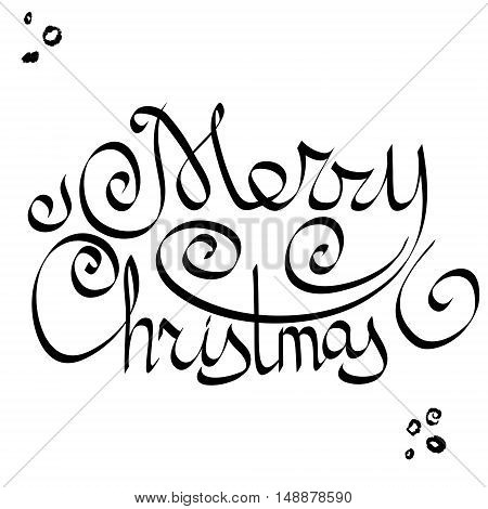 Hand drawn Merry Christmas lettering. Perfect for greeting Cards Posters or another