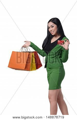 Pretty Asian Woman With Many Shopping Bags And Credit Card