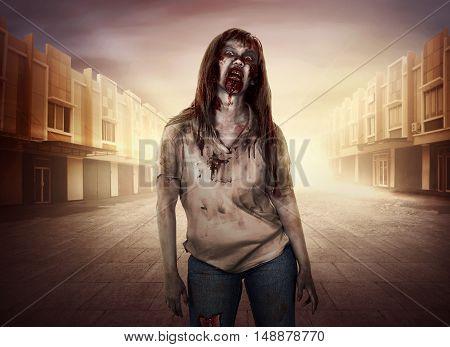 Horrible Female Zombies Walking Around The City