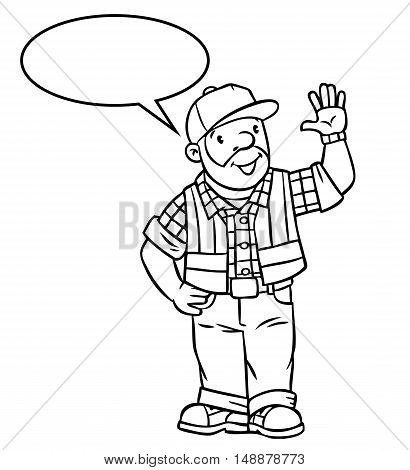 Coloring picture or coloring book of funny driver or worker, man dressed in a plaid shirt, vest with reflective stripes and jeans Profession series. Children vector illustration. With balloon for text