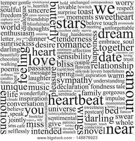 Background with words on the topic of love.