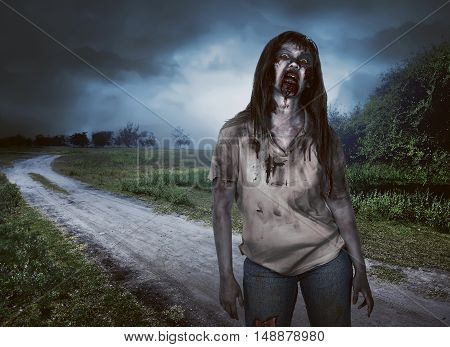 Scary Zombie Woman With Wounds Walking