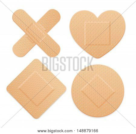 Aid Band Plaster Strip Medical Patch Set. Vector illustration