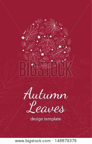 Autumn leaves postcard design template white outline on magenta