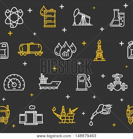 Oil Industry Background Pattern on a Black. Vector illustration