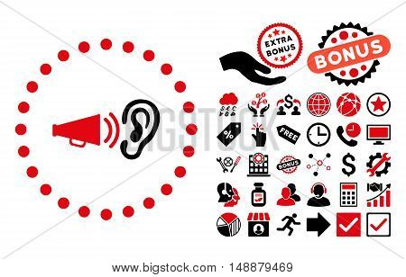 Advertisement pictograph with bonus pictogram. Glyph illustration style is flat iconic bicolor symbols, intensive red and black colors, white background.