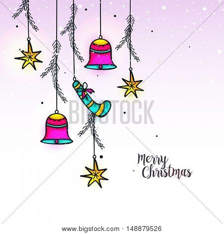 Greeting Card with hanging jingle bells, stars and candy cane for Merry Christmas celebration.