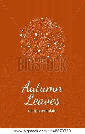 Autumn leaves postcard design template white outline on orange