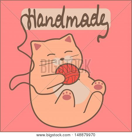 High quality original trendy vector illustration of a cat playing with yarn, Logo for handmade objects