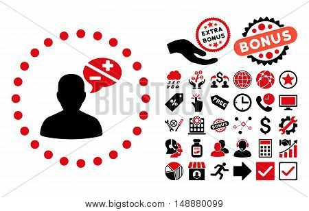 Arguments icon with bonus images. Glyph illustration style is flat iconic bicolor symbols, intensive red and black colors, white background.