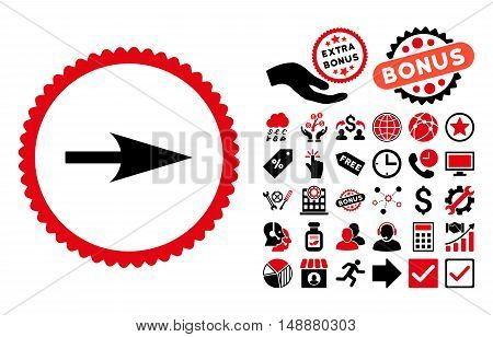 Arrow Axis X pictograph with bonus pictograph collection. Glyph illustration style is flat iconic bicolor symbols, intensive red and black colors, white background.