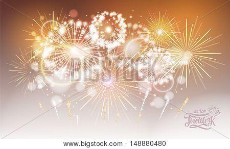 Vector Golden Holiday Fireworks