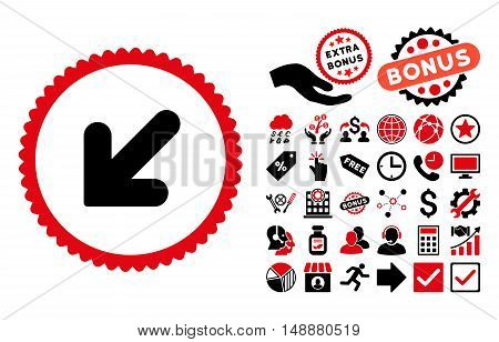 Arrow Down Left icon with bonus pictures. Glyph illustration style is flat iconic bicolor symbols, intensive red and black colors, white background.