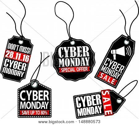 Cyber monday sale tag set vector illustration
