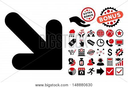 Arrow Down Right pictograph with bonus elements. Glyph illustration style is flat iconic bicolor symbols, intensive red and black colors, white background.