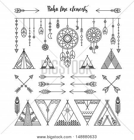 Set of boho line elements. Garland with feathers, dreamcatcher, beads, triangles. Wigwams and arrows in trendy line style. Vector illustration