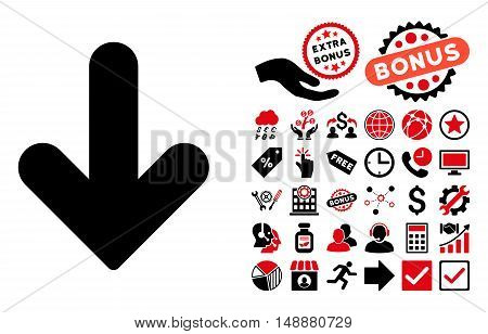 Arrow Down icon with bonus icon set. Glyph illustration style is flat iconic bicolor symbols, intensive red and black colors, white background.