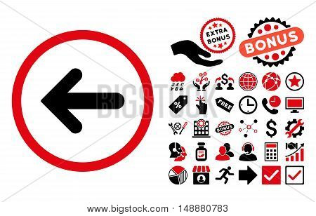 Arrow Left pictograph with bonus elements. Glyph illustration style is flat iconic bicolor symbols, intensive red and black colors, white background.