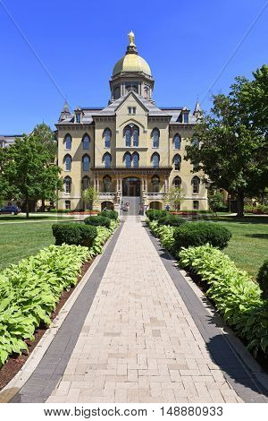 South Bend, IN, USA - June 24, 2016: University of Notre Dame campus in  South Bend, Indiana.