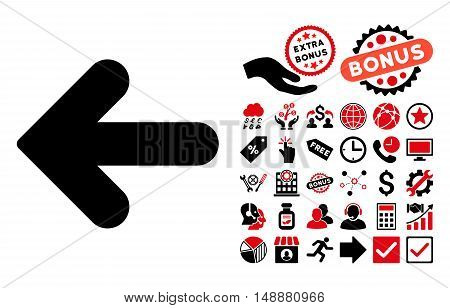 Arrow Left pictograph with bonus design elements. Glyph illustration style is flat iconic bicolor symbols, intensive red and black colors, white background.