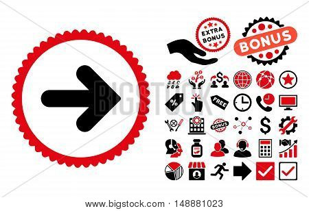 Arrow Right pictograph with bonus design elements. Glyph illustration style is flat iconic bicolor symbols, intensive red and black colors, white background.