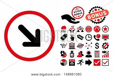 Arrow Right-Down pictograph with bonus clip art. Glyph illustration style is flat iconic bicolor symbols, intensive red and black colors, white background.