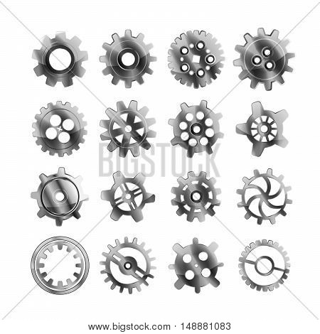 Set of realistic glossy metal cogwheels isolated on white