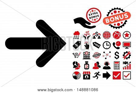 Arrow Right icon with bonus pictures. Glyph illustration style is flat iconic bicolor symbols, intensive red and black colors, white background.