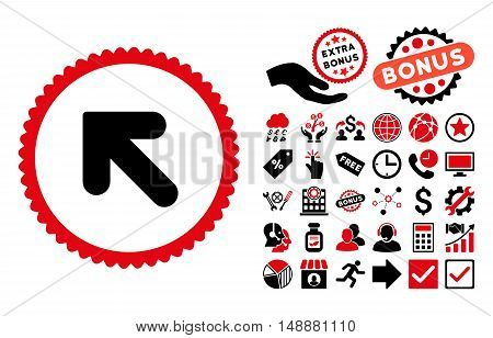 Arrow Up Left icon with bonus icon set. Glyph illustration style is flat iconic bicolor symbols, intensive red and black colors, white background.