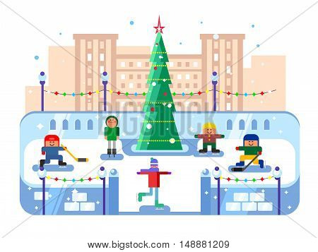 Municipal skating rink Christmas tree. Winter skate, evening xmas, skater leisure, vector illustration