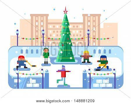 Municipal skating rink Christmas tree. Winter skate, evening xmas, skater leisure, vector illustration