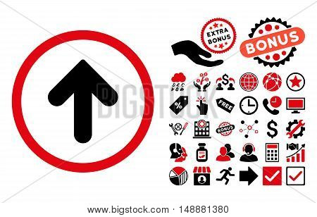 Arrow Up icon with bonus images. Glyph illustration style is flat iconic bicolor symbols, intensive red and black colors, white background.