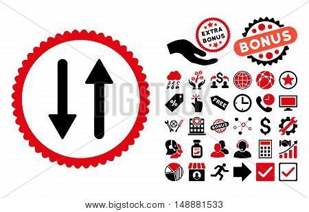 Arrows Exchange Vertical icon with bonus images. Glyph illustration style is flat iconic bicolor symbols, intensive red and black colors, white background.