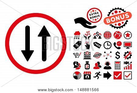 Arrows Exchange Vertical icon with bonus icon set. Glyph illustration style is flat iconic bicolor symbols, intensive red and black colors, white background.