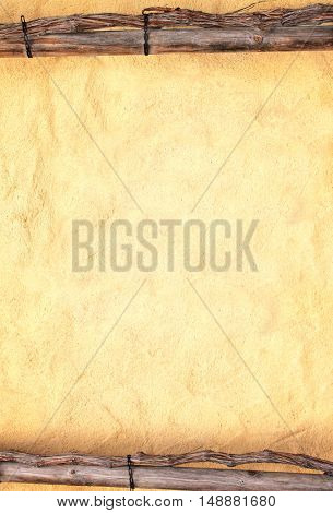 Grunge background with old of texture stucco wall and wooden frame