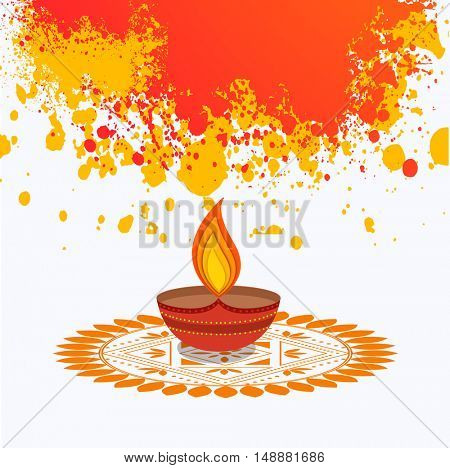 Colourful creative Lit Lamp on Rangoli, Vector Festive Background with splash, Beautiful Greeting Card for Indian Festival of Lights, Happy Diwali Celebration.
