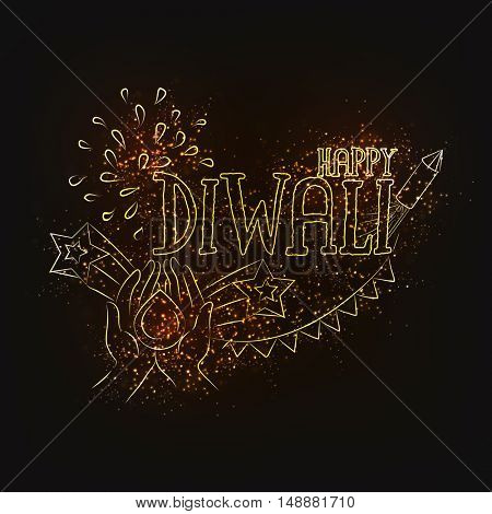 Creative text Happy Diwali with illustration of human hand holding Oil Lamp (Diya) on sparkling background, Elegant Greeting Card for Indian Festival of Lights celebration.