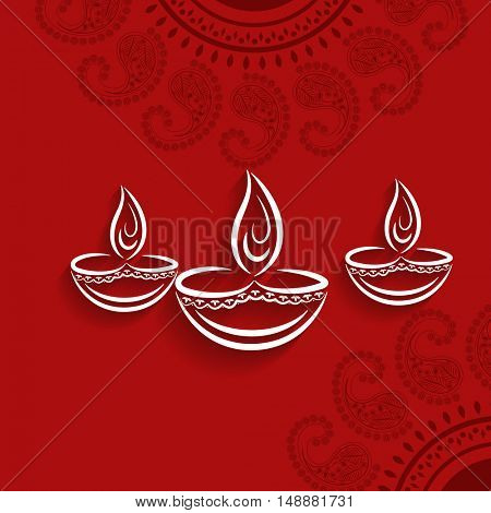 Elegant Greeting Card design with oil lamps (Diya) on floral design decorated red background for Ind