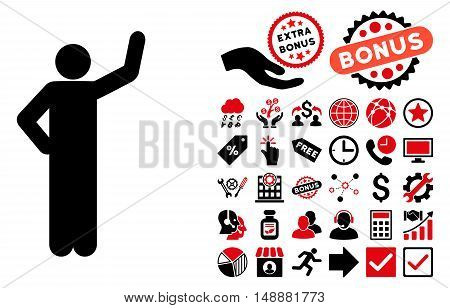 Assurance Pose icon with bonus elements. Glyph illustration style is flat iconic bicolor symbols, intensive red and black colors, white background.