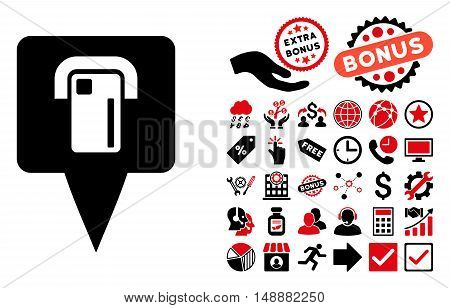ATM Terminal Map Pointer pictograph with bonus elements. Glyph illustration style is flat iconic bicolor symbols, intensive red and black colors, white background.