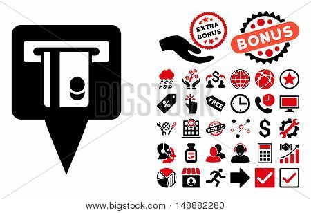 ATM Terminal Marker icon with bonus symbols. Glyph illustration style is flat iconic bicolor symbols, intensive red and black colors, white background.