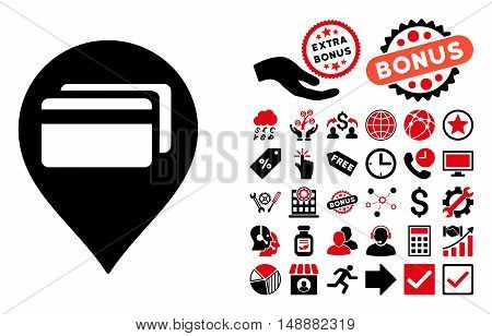 ATM Terminal Pointer pictograph with bonus pictograph collection. Glyph illustration style is flat iconic bicolor symbols, intensive red and black colors, white background.